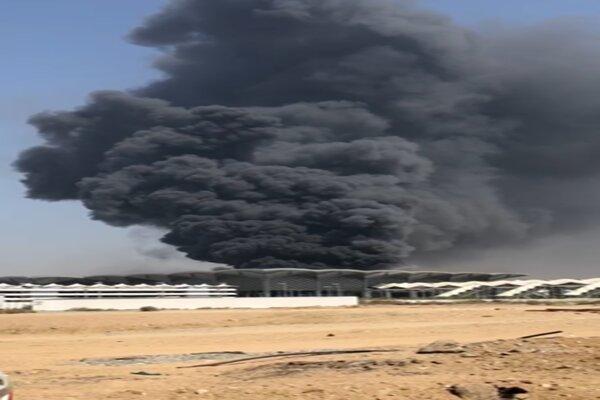 آتش سوزی گسترده در ایستگاه قطار در جده عربستان و توقف حرکت قطارها